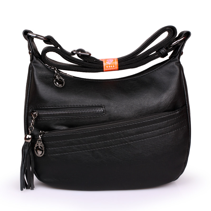 Women\'S Genuine Leather Handbags All-Match Shoulder Crossbody Bags Tassel Messenger Bag Solid Color Hobos Women Bags
