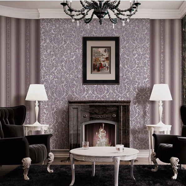 Purple striped wallpaper living room for Purple living room wallpaper