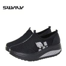 Летние дышащие женские туфли на танкетке с сеткой; обувь на толстой подошве, увеличивающая рост; кроссовки для похудения; EUR35-40
