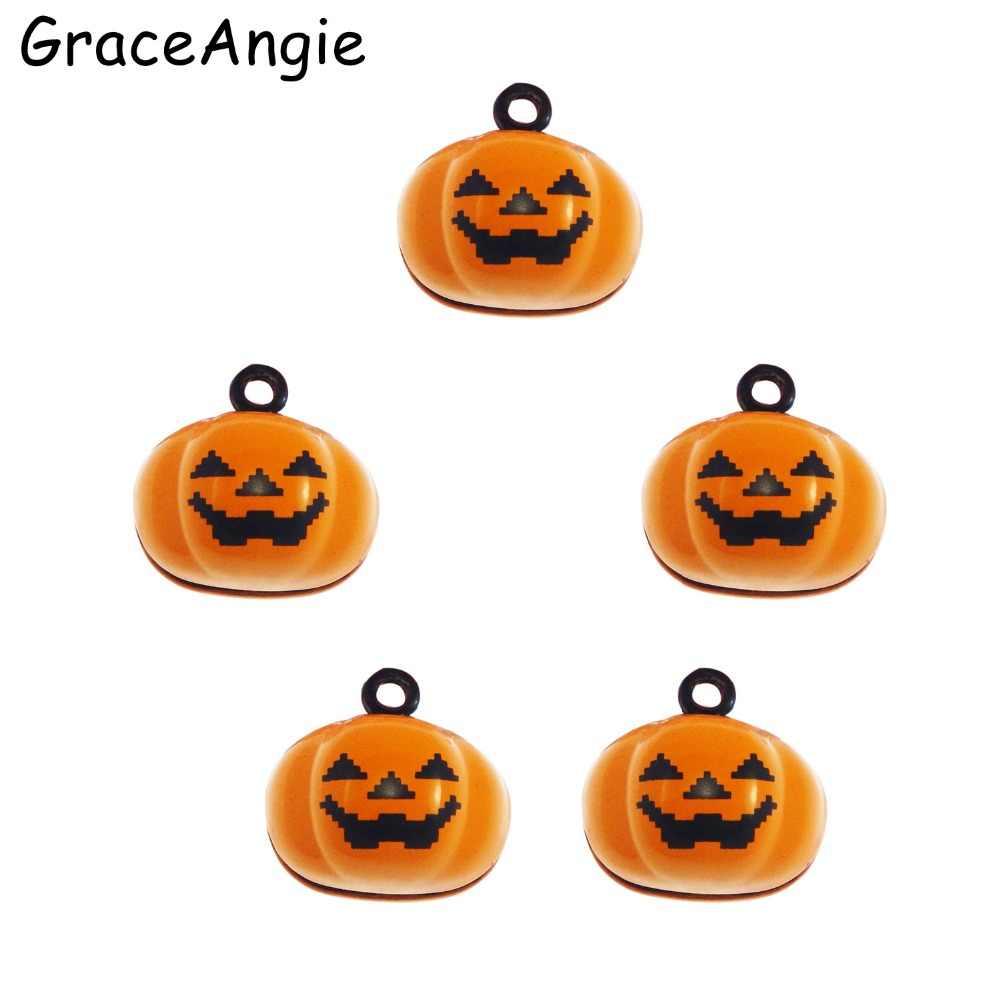 5pcs Jingle Bells Party Festival Ornament Hanging Gift Xmas Pumpkin Necklace Pendant Charm Pet Gift 19*18mm Halloween Jewelry