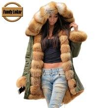 Fandy Lokar Real Fur Coats For Women Red Fox Fur Coat Lining Rabbit Fur coat Waterproof Fur Parkas For Women Winter Jackets