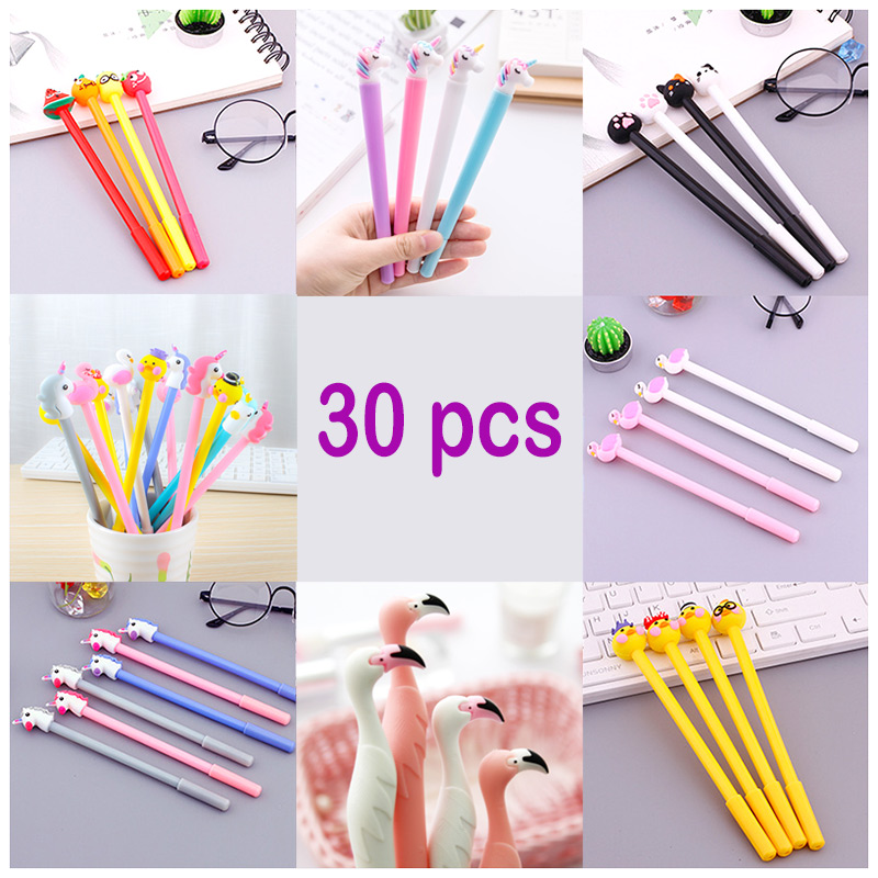 Jonvon Satone 30 Pcs Cute Gel Neutral Pen Stationery Black Ink Pen Wholesale Stationary Set School Supplies Tools Escolar Caneta