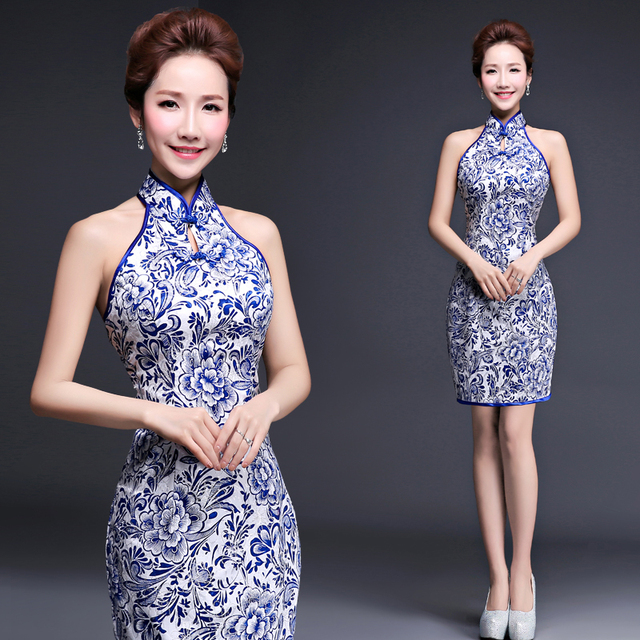 ecfd27a47996 Blue And White Porcelain Daily Cheongsam Halter Modern Qipao Short Evening  Dress Traditional Sexy Chinese Dresses Robe Orientale
