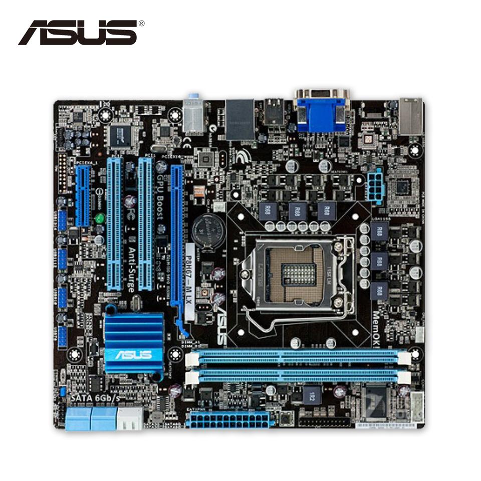 Asus P8H67-M LX Desktop Motherboard H67 Socket LGA 1155 i3 i5 i7 DDR3 16G uATX On Sale asus p8b75 m lx desktop motherboard b75 socket lga 1155 i3 i5 i7 ddr3 16g uatx uefi bios original used mainboard on sale