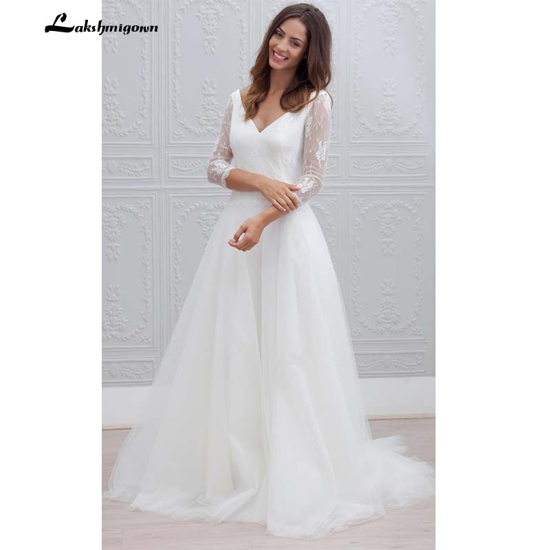 Simple V Neck Lace Wedding Dress Three Quarter Sleeve Tulle Bridal Dress Sweep train Backless Wedding