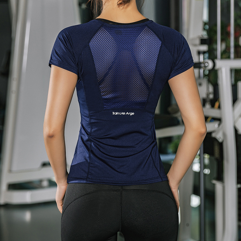 T-Shirts Short-Sleeve Top-Mesh Slim-Fit Fitness Yoga Sports Womens Summer for Gym