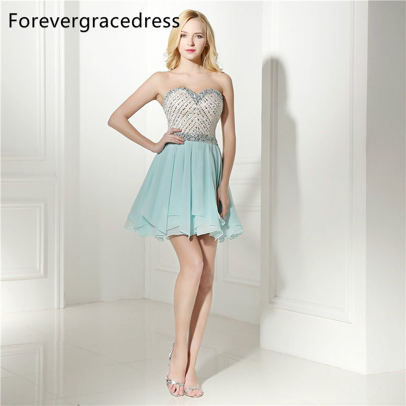 Forevergracedress Real Photos Mint Cocktail Dress Sexy Short Mini Chiffon Beaded Crystals Homecoming Party Gown Plus Size