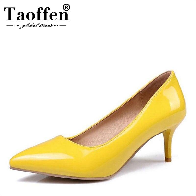 100% QualitäT Taoffen Frauen Stiletto Pumps Slip Auf Süßigkeiten Farbe Mitte Ferse Hochzeit Schuhe Frauen Schuhe Dropshipping Plus Größe 30 -48