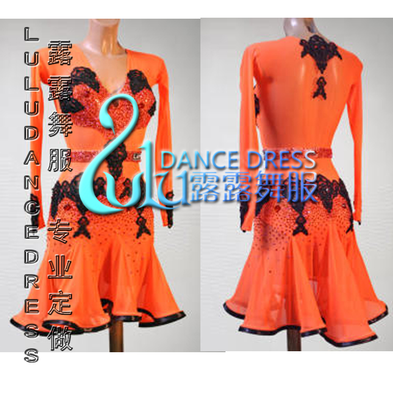 Orange latin dans jurk, salsa, tango, ballroom dans jurk, MEISJES,latin dance dress L181