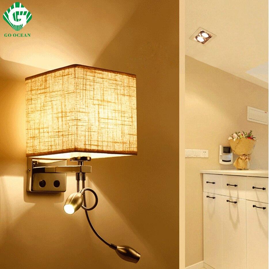 Lámpara de pared lámpara interruptor escaleras luminarias lámpara E27 bombilla dormitorio decoración cuarto de baño moderno de iluminación montado en la pared