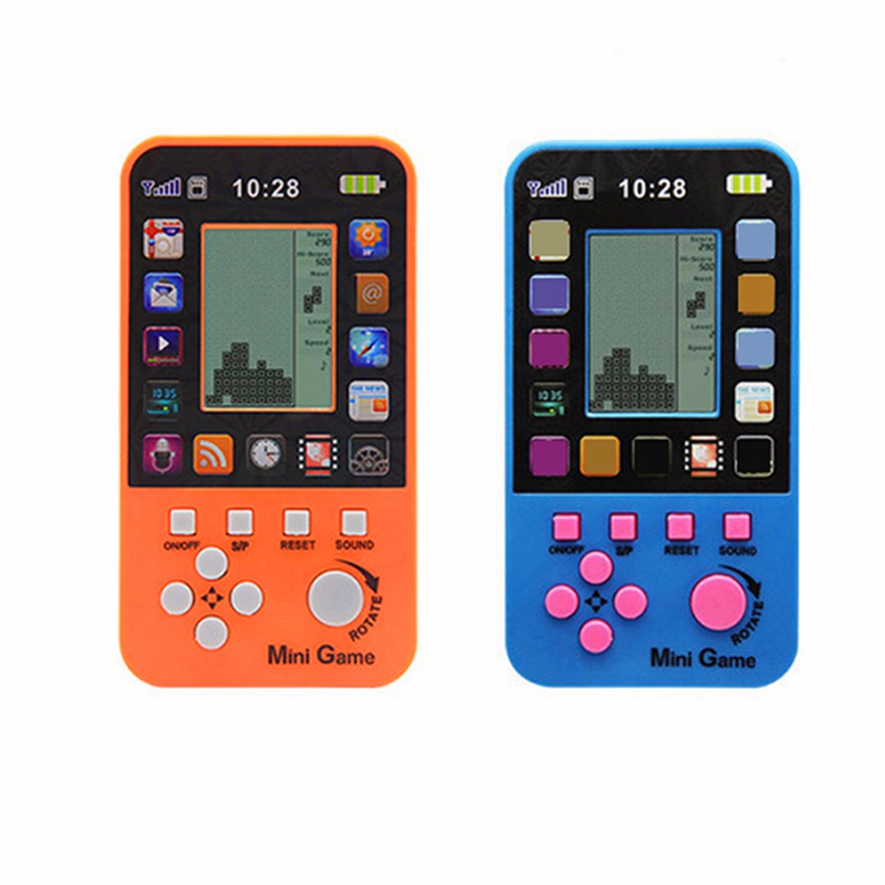 JRGK Data Frog Portable Childhood Tetris Handheld Game Players Mini Game Console For Children Intelligence Toys Tank Games