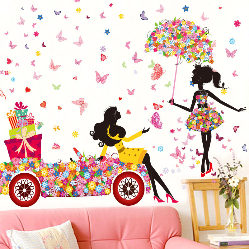 Fashion Modern Girl Butterfly Wall Sticker Home Decor Wall Sticker Decoration Wall Stickers Home Decor Creative Floral Stickers