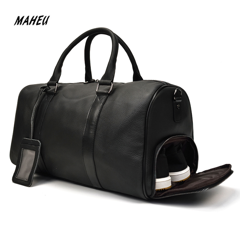 MAHEU Top Men's Trip Bag Business Outdoor Dufful Bags Man Pure Skin Crossbody Training Sport Travel Bag On Luggage Bag Leather