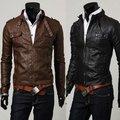 2014 мода Классический мужская PU Кожаное Пальто куртка 2 Цвета 4 Размеры Черный, Коричневый M, LXL, XXLfree доставка