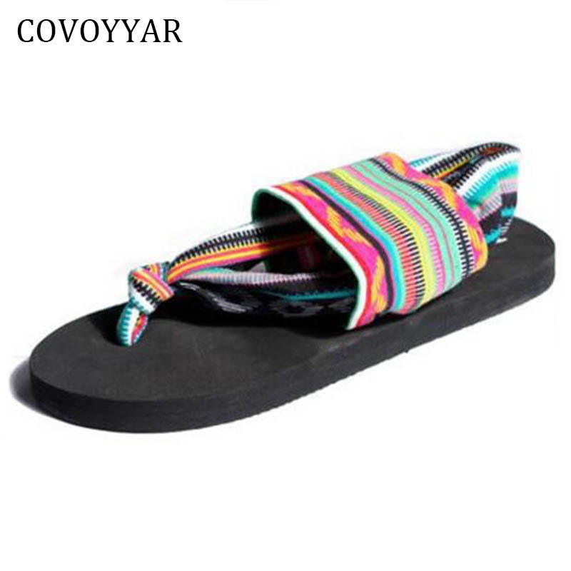 COVOYYAR 2018 New Bohemia Beach Flip Flops Summer Colourful Striped Stretch Fabric Women Sandals Casual Black Shoes WSS750 covoyyar 2018 fringe women sandals vintage tassel lady flip flops summer back zip flat women shoes plus size 40 wss765
