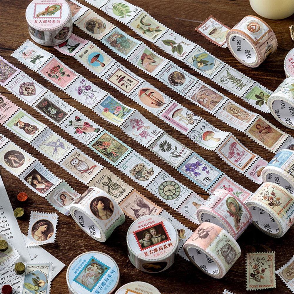 Stamp Die-cut Tape Vintage Post Office Series Creative Coffee Plants And Paper Decoration Stickers Diary Scrapbooking Stationery
