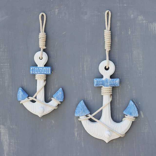 Mediterranean Style Wood Anchor Wall Decor Coat Hooks Living Room ...