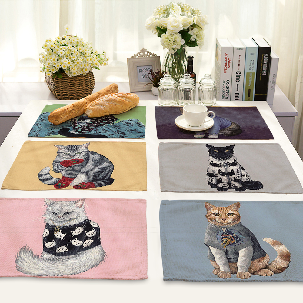 Creative Animal Cute Cartoon cat Printed Table Napkin For Wedding Set Bowl Dining Mats 42*32cm Kids Table Set Home Decoration