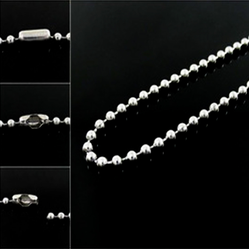 2PCS/Lot 2mm Stainless Steel Silver Ball Beads Chain Men Necklace <font><b>Bracelet</b></font> Keychain Trinket <font><b>Dog</b></font> Tag Jewelry Making Accessories image