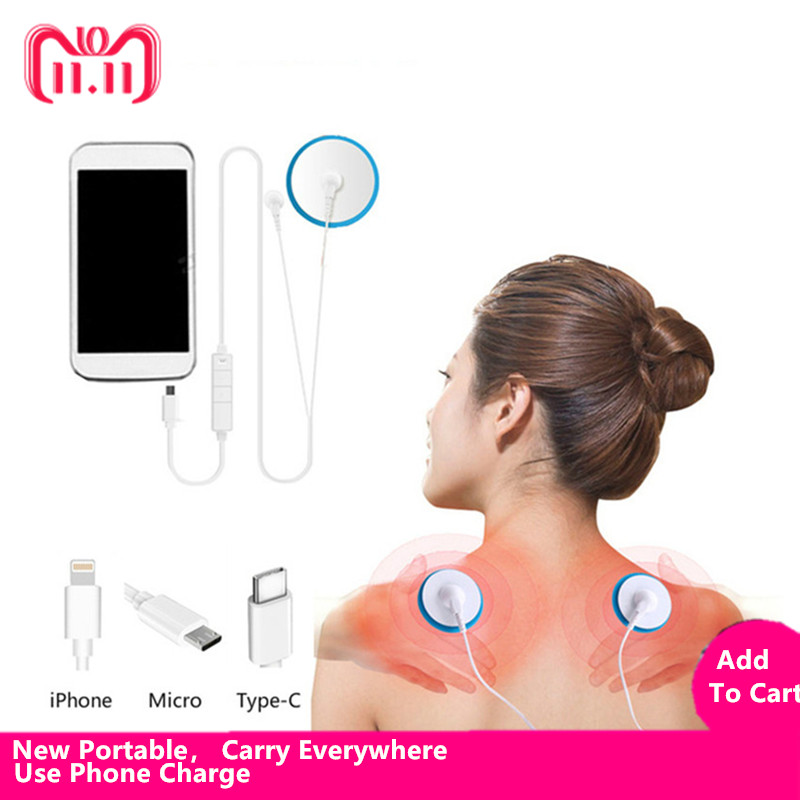 New Portable Muscle Stimulator Body Massager Phone connection Acupuncture Back Neck Tens Therapy Electric Massage Pad relaxation portable patch muscle stimulator neck body massager acupuncture relief pain tens magnetic therapy electric massage relaxation