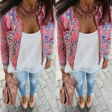 2016 New Hot Women Autumn Jackets Female Floral Print Slim Short Tops Down Denim Bomber Jacket Clothing Coats Chaquetas Mujer H1
