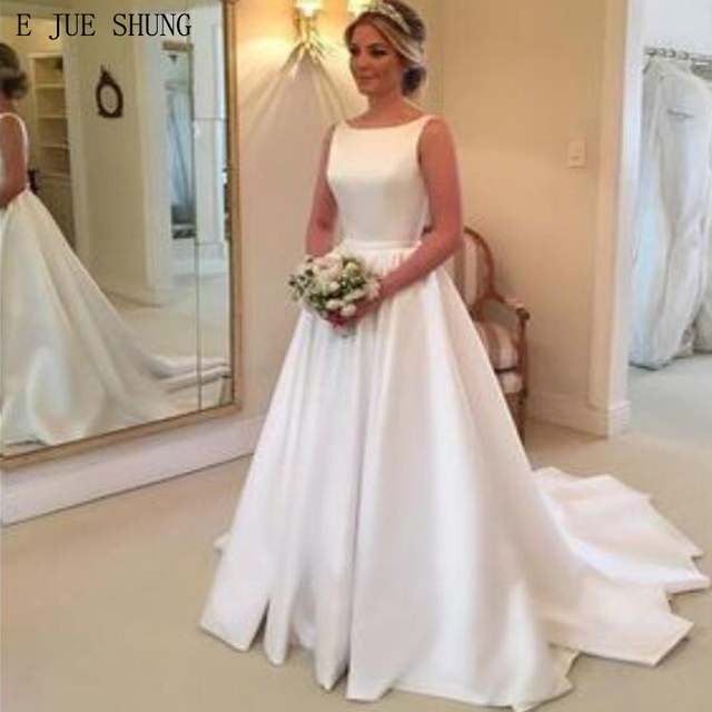 b10f633210d E JUE SHUNG White Simple Wedding Dresses A-line Backless Boho Bridal  Dresses Wedding Gowns