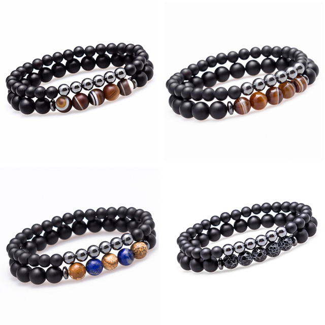 Lucky Gem Fashion Matte Striped Beads Mantra Prayer Beads Buddha 2pcs/set Bracelet for Women&Mens Hematite Pulseras Masculina 1