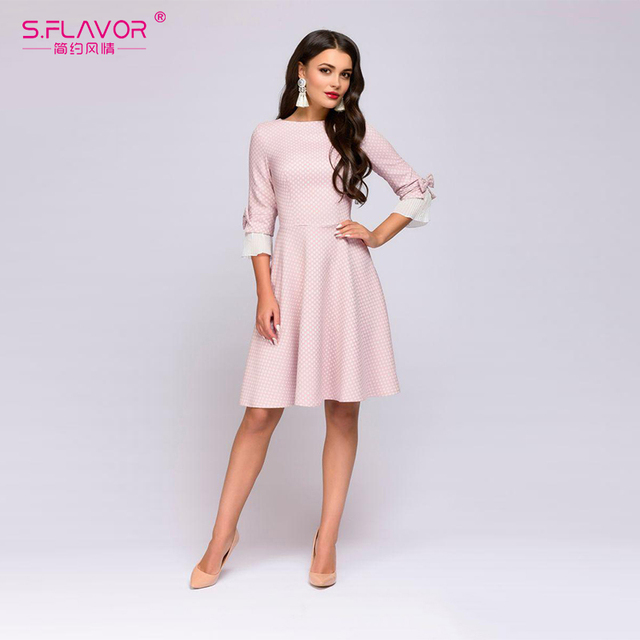 e60af89b82d11 US $16.42 47% OFF|S.FLAVOR Vintage wave point short dress Hot sale Women  pink O neck half butterfly sleeve bow vestidos Casual women autumn dress-in  ...