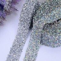 Clear AB 2 Colors Chunky Glitter Rhinestones Trim 3MM Width Iron On Hotfix Back Glue Crystal