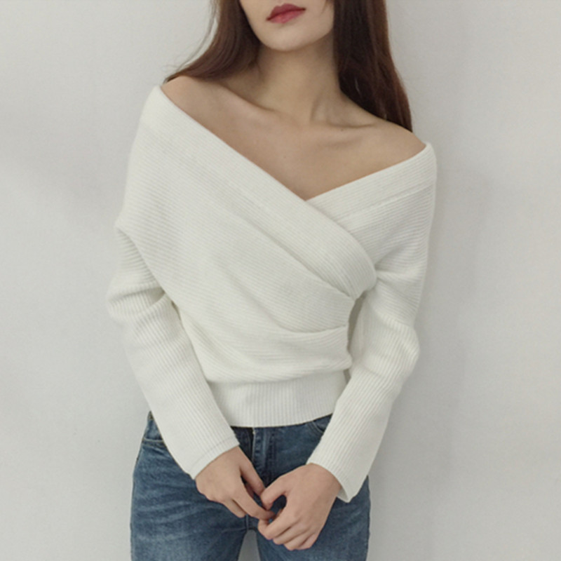 Chest criss-cross off shoulder knitted sweater cropped 2018 spring autumn korean fashion women knitted pullovers ladies jumpers