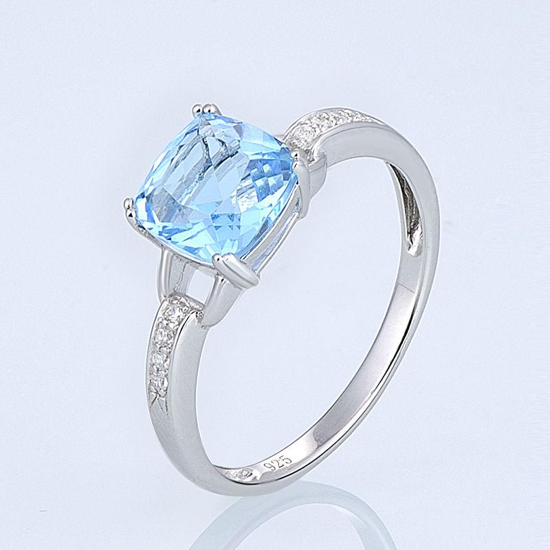 Image 2 - SANTUZZA Jewelry Set For Women Genuine 925 Sterling Silver Bridal  Shimmering Blue Crystal Earrings Ring Set  Fashion Jewelryset  finesjewelry bowjewelry plier set