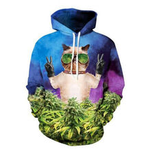 Novelty Hood Men Sweatshirt Hip Hop Style Cool Cat Sunglasses Green Leaves