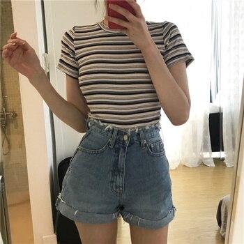 цена на 2019 Summer Tshirt Women Korean O-neck T Shirt Fashion Striped Tops Harajuku Short Sleeve Casual T-shirts Female