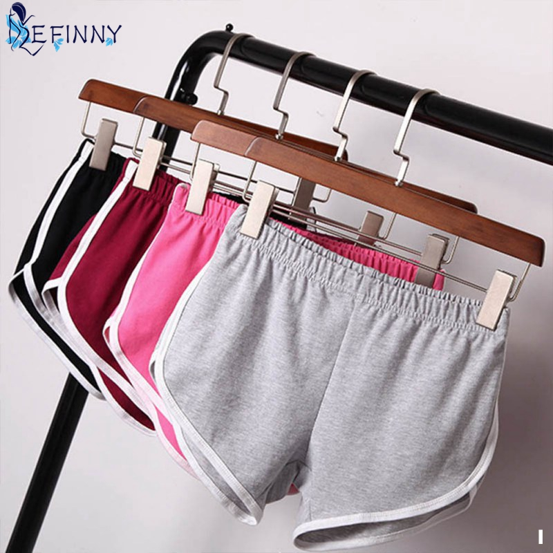 EFINNY Summer Street Shorts Women Elastic Waist Pants Women All match Loose Solid Soft Cotton Casual