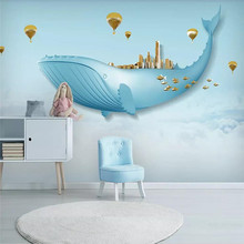 Custom wallpaper creative sky white clouds whale background wall childrens room painting waterproof material