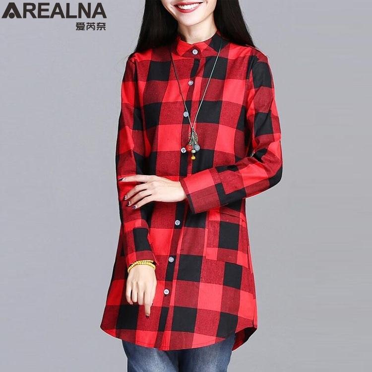 0363986646d2 Blusas 2018 otoño mujer Casual algodón de manga larga camisa Plaid mujeres  Slim blusa Tops Blusas Chemise Femme