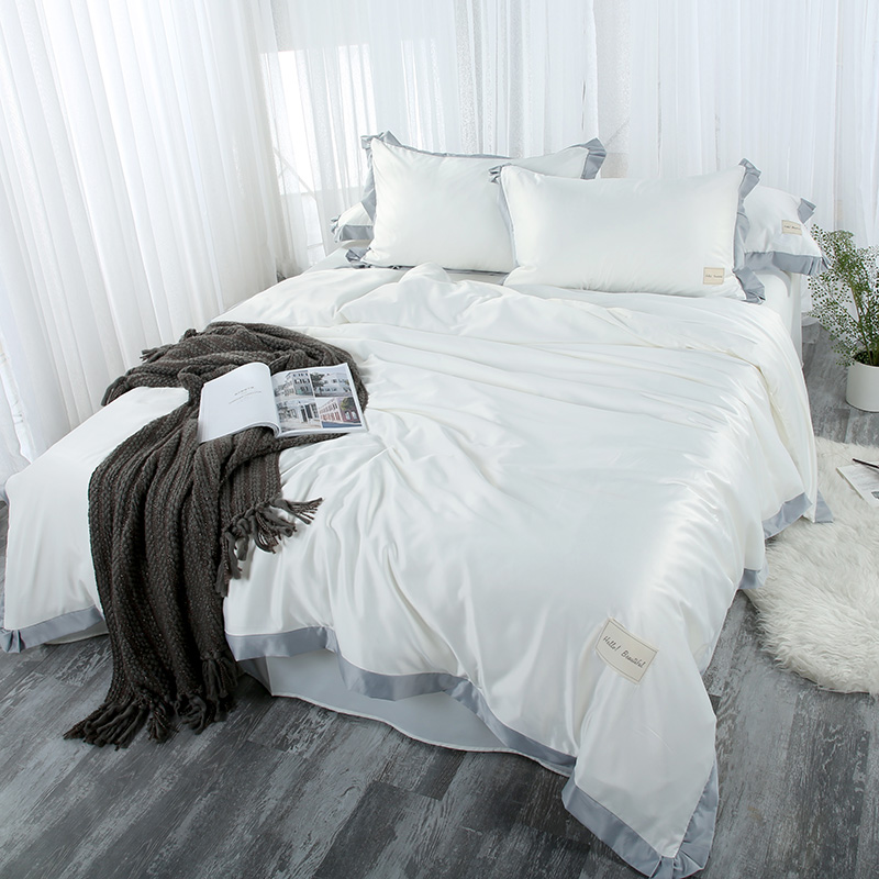 Solid White Grey Green Blue Pink Bedding Set Twin Queen King Size Duvet Cover Bed Sheets Pillowcase Satin IMITATED SILK FABRICSolid White Grey Green Blue Pink Bedding Set Twin Queen King Size Duvet Cover Bed Sheets Pillowcase Satin IMITATED SILK FABRIC