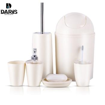SDARISB 6 piezas sólido de cuarto de baño de plástico accesorios de lavado  traje de baño vaso cepillo de dientes titular conjunto de baño de ...
