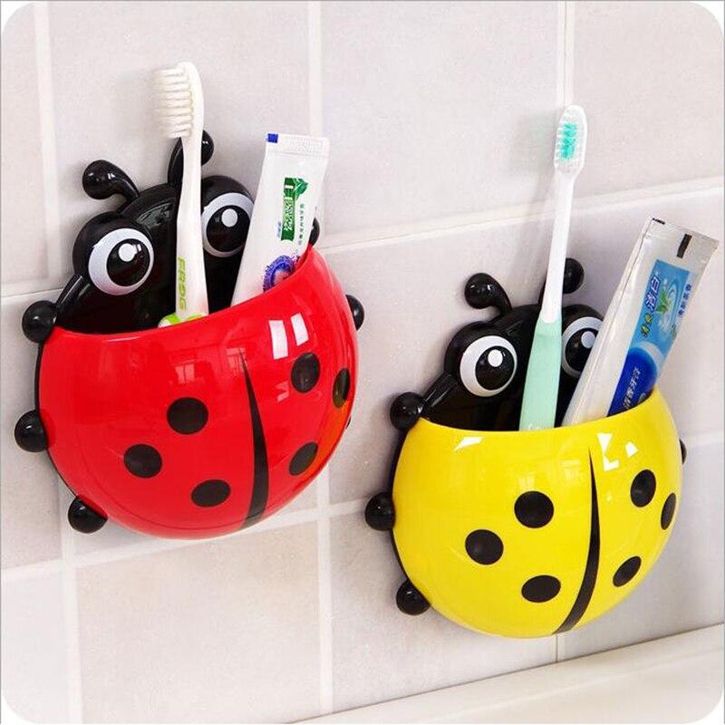 Ladybug Toothbrush Toothpaste Holder Home Storage Wall Suction Suporte Escova De Dente Parede Household Items Acessorio Banheiro in Storage Shelves Racks from Home Garden