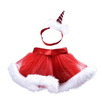 5f3aea00c Falda tutú de Navidad para niñas unicornio + conjunto de Banda de cabeza  2019 nuevas faldas de princesa ropa para niños falda Casual para niños con  diadema