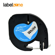 LABELZONE compatible Dymo LetraTag plastic tape LT91201 12mm black on white 91201 91331 91221 59422 for Dymo label printers