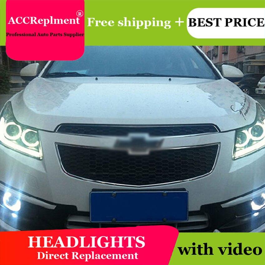 Car Styling for Cruze Headlights 2009 2014 Cruze LED Headlight DRL Lens Double Beam H7 HID Xenon bi xenon lens