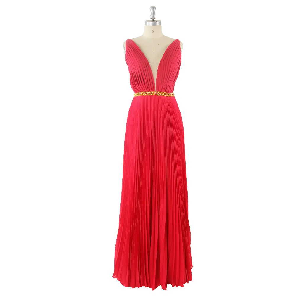 2017 Sexy Red Natural Waist Beading Backless V-neck Sashes Sleeveless A-Line Chiffon Ruched   Prom     Dress