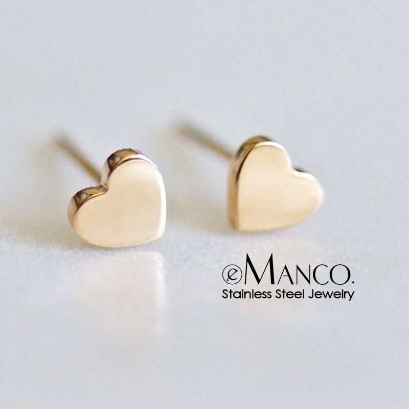 E-Manco Trendy Stainless Steel Earrings Minimalist Small Heart Love Earrings Korean Style Stud Earrings For Women