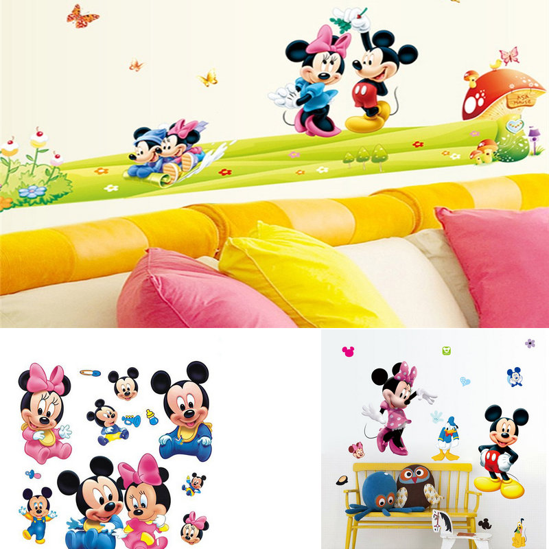 Mickey Mouse Minnie PVC Mural Wall Sticker For Kids Rooms Cartoon ...