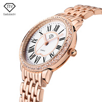 FTV Women Rose Gold Bracelet Watches Luxury Rhinestone Dial Quartz Watches Ladies Clock Dress Watch Relojes