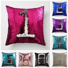 Fuwatacchi Reversible Sequin Number Pillow Cover Mermaid Sequins Decorative Cushion Covers Color for Home Sofa Chair Pillowcase