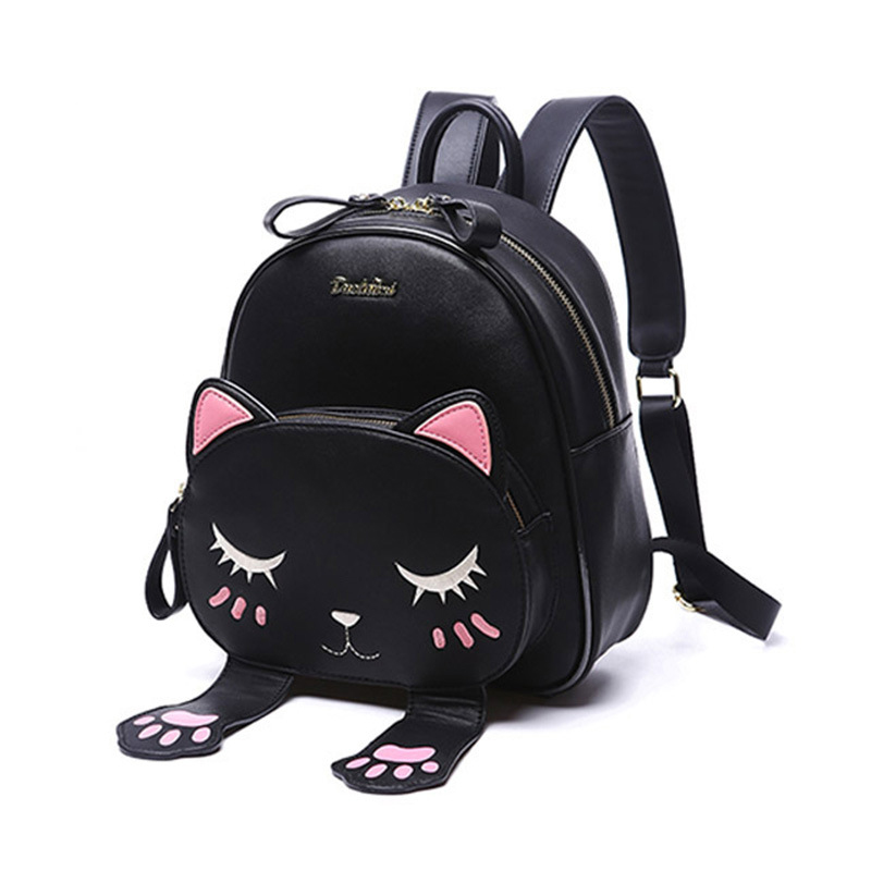 New Emoji Package Cat Backpack Fashion Wild PU Material Student Schoolbag Travel bag Backpack For Women