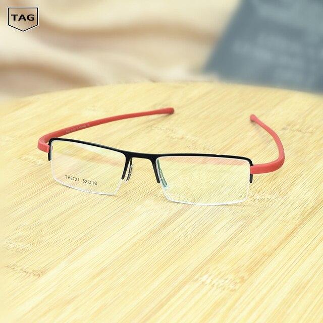 TAG Ezéchias Marque rétro lunettes cadre Demi boîte en métal de mode tr90 hommes  femmes informatiques 2054bd74865a
