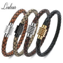 Louleur Black Leather Rope 6mm Cord Bracelets Stainless Steel For Men Woman Pentagonal Section Magnetic Clasp Connector Bangles